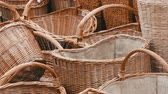 geweven : Wicker furniture items. Baskets and boxes for a picnic, linen and various things at a folk craft fair.