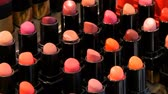 seçenek : Shop luxury fashion cosmetics. Stands with variety of different color lipsticks, professional women cosmetics