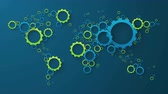 world map of blue and green cog wheels on dark background Stock Footage