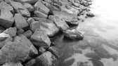 simplicidade : Stepping stones near the beach on Black Sea. Timelapse Stock Footage