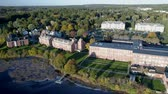 rez : Aerial Drone  -  High Pan Over Property Of Old Textile Factory in Exeter, New Hampshire 4K