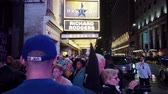 ampul : New York City, New York - 2019-05-08 - Broadway 2 Hamilton Theater Marquee Crowds. Stok Video