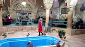tribunal : Kerman, Iran - 2019-04-06 - Woman in Red Walks Through Iranian Restaurant.