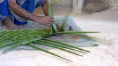 çubuk : Galle, Sri Lanka - 2019-04-01 - Thatch -  Man Demonstrates How to Weave Leaves for Roof Closeup.