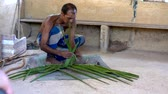 çubuk : Galle, Sri Lanka - 2019-04-01 - Thatch -  Man Demonstrates How to Weave Leaves for Roof. Stok Video