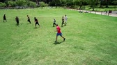 disk : Cuenca, Ecuador - 2019-02-10 - Pickup Extreme Frisbee in Park - Aerial View Blocked Pass.