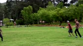 disk : Cuenca, Ecuador - 2019-02-10 - Pickup Extreme Frisbee in Park - Interception. Stok Video