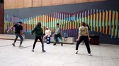 Valparaiso, Chile - 2019-07-13 - Students Practice Hip Hop Dance In Courtyard.