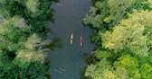 tavacska : Two kayaks are sailing along a scenic river. Aerial view. Stock mozgókép