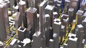 3d city rendering with lines and digital elements. Digital skyscrapers. Technology video concept.