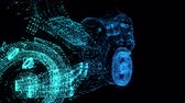 Rotating motorcycle. Glowing Light Particles Arranged in the Formation of Model motorcycle 360 Degree. Seamless Looping Motion Animated Background. Blue Cyan color.