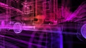 Truck. Glow points and line formation of 3d Model Truck. Rotating. 4k animation.