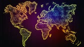 World Map. Animated World map with effects and glowing particles. Business background for presentation of project. Стоковые видеозаписи