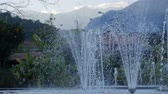 liquid light : Beautiful garden fountain in slow motion Stock Footage