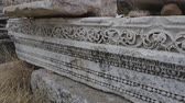 ephesus : Part of marble frieze detail, Sagalassos, Turkey. Ancient Greek ornamets Stock Footage