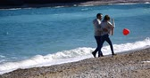 retener : Young couple holding their hands and walking away by the sea, with heart shaped balloon