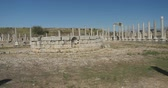 open air museum : Panoramic view of Ancient city Perge with antique temple ruins of ancient temple roman architecture on background. This is open air antique historical museum in Turkey Stock Footage