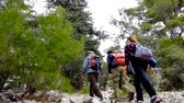 boğa : Hikers walking to the Tahtali mountain peak in Turkey, Antalya province wearing hiker backpacks. Tahtali mountain is 2365m high.