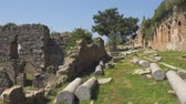 bizantino : Panorama view of beautiful ancient castle greek column ruins with calm Mediterranean sea on background. Just open, without tourists.