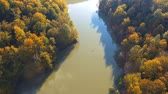 Aerial drone view of colorful beech forest in autumn. Mountain wood and pond from above.