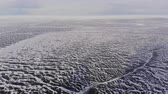Aerial view of winter ice landscape on lake Baikal. Wideo