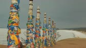 Ritual pillars in a sacred place on lake Baikal. Stock Footage