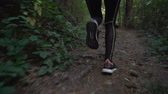 antreman : Low angle view of fitness girl jogging in the forest early in the morning