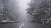 pootafdrukken : Tourist disappears in the dense fog at the end of the asphalt road in frozen forest