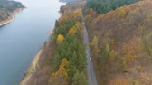 тележка : Drone chasing vehicle driving and speeding on forest road