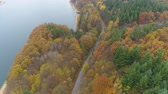 kovalamak : Aerial view of forest highway road near big lake in Bulgaria. Golden tree tops in scenic autumn landscape Stok Video
