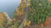 kovalamak : Aerial view of scenic autumn landscape of mixed forest near big lake