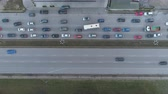 各州間の : Traffic Jam Top View, automobile traffic and jam of many cars, transportation concept. 動画素材