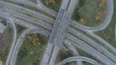 eyaletler arası : Top view, traffic congestion at busy ring road. Traffic jam concept Stok Video