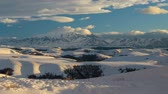 Russia, time lapse. Winter views of the snowy mountains of the Caucasus. Formation and movement of clouds over mountains peaks. Vídeos