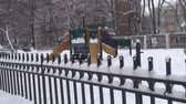 winter : Kid Playing In Park During Snow Storm Still-Shot Stock Footage