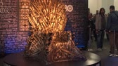 statue : Bucharest, May The 10th, East European Comic Con, Game Of Thrones Throne Stock Footage