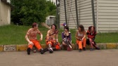 gamers : Bucharest, May The 10th, East European Comic Con, Cosplayers Resting Stock Footage