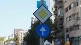 ограничение : Priority And Just Ahead Sign, Traffic, Street Sign, Urban Setting Стоковые видеозаписи