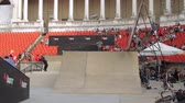 Skaters Warming Up For Extreme Sports Contest, Ramp, Speed, Medium Angle
