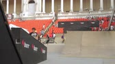construir : Skaters Warming Up For Extreme Sports Contest, Ramp, Speed, Medium Angle Pan