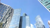 high rise buildings : Complex of high-rise glass buildings Stock Footage