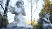 ангельский : Two statues of angels on the background of birches Стоковые видеозаписи