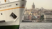 frequent : Istanbul passenger ferries Big domestic ferry is landing Stock Footage