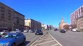 business : Incoming and outgoing traffic of wide city highway 4K video, wide lens. Moscow