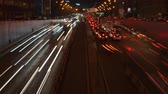 sıkışmış : Long exposure night time lapse of urban traffic jam (4K available)