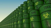 toxicant : Lines of green barrels with toxic content. 4K seamless loopable animation