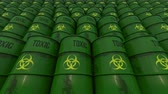 toxicant : Lines of green barrels with toxic content. Low angle view. 4K seamless loopable animation Stock Footage