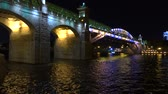 ismeretlen : Architectural LED lighting. Moscow river pedestrian bridge at night. 4K shot