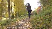 uzun yürüyüşe çıkan kimse : Beautiful brunette girl walking in autumn forest holding a picnic basket. 4K steadicam video