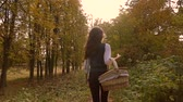 uzun yürüyüşe çıkan kimse : Slender brunette girl walking in autumn forest holding a picnic basket. 4K steadicam video